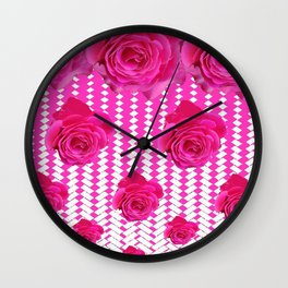 ABSTRACTED CERISE PINK ROSES GARDEN ART Wall Clock