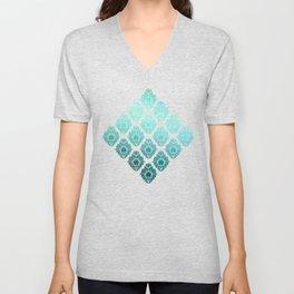 """Turquoise Ocean Damask Pattern"" Unisex V-Neck"