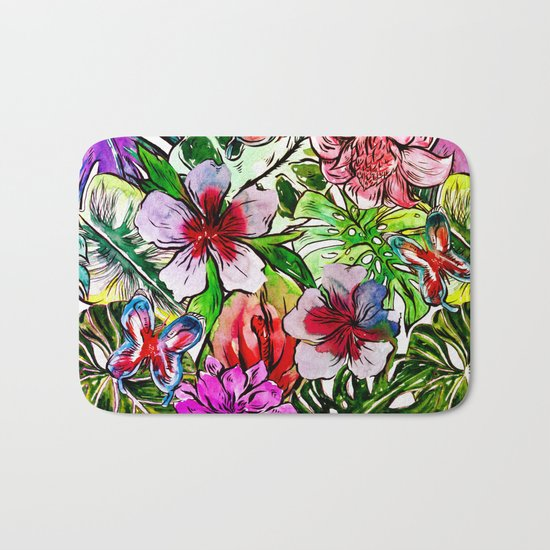Tropical Flower Hibiscus Garden Bath Mat