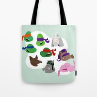 tmnt Tote Bags featuring TMNT by Matthew Goshman