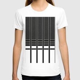 Modern Minimalist Black and White Stripes T-shirt