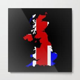 UK Flag and Silhouette Metal Print