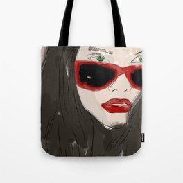 Woman closeup portrait in eyewear, fashion glasses Tote Bag