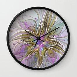 Flourish, Abstract Fractal Art Flower Wall Clock