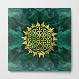 Gold Flower of life on malachite Metal Print