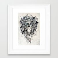decal Framed Art Prints featuring Lion by Feline Zegers