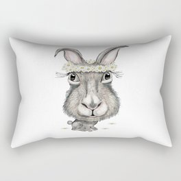 Rabbit with Flower Rectangular Pillow