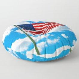 American Flag in Big Blue sky Floor Pillow