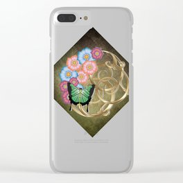 Butterfly and flowers on gold scrollwork Clear iPhone Case