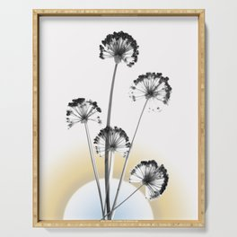 black and white flower wallpaper and the sun, flower decor, printable art Serving Tray