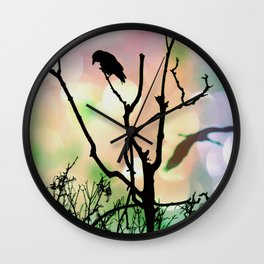 The Lonely Crow At Sunset Wall Clock