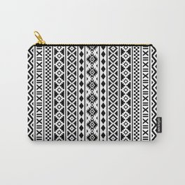 Aztec Essence Pattern Black on White Carry-All Pouch