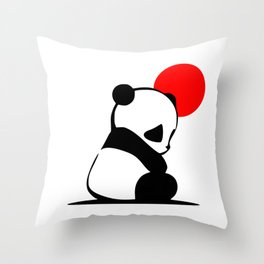Shy Panda in the Red Sun Throw Pillow