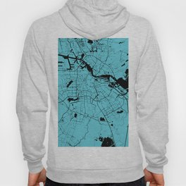 Amsterdam Turquoise on Black Street Map Hoody