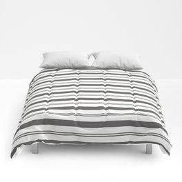 Pantone Pewter Gray and White Stripes, Wide and Narrow Horizontal Line Pattern Comforters