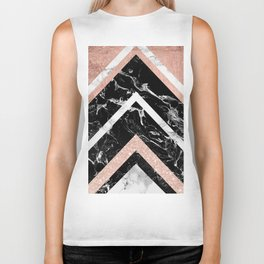 Modern rose gold glitter foil white black marble glitter triangles stripes Biker Tank