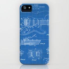 Guitar Tremelo Patent - Guitarist Art - Blueprint iPhone Case