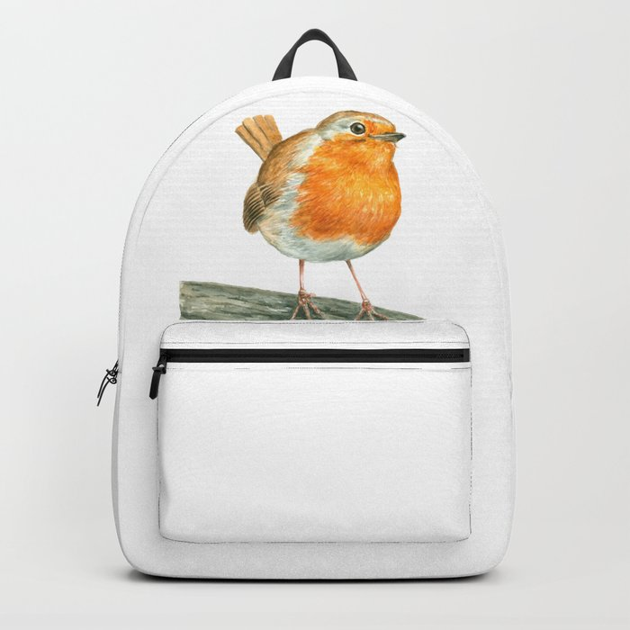 Robin bird watercolor art Backpack