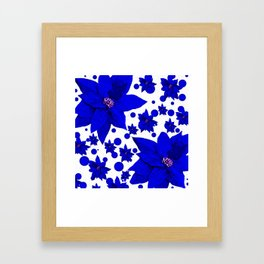 Poinsettia Blue Indigo Pattern Framed Art Print