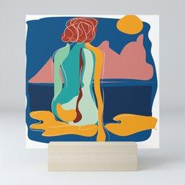 Dreamer girl portrait with scene intense colors Mini Art Print