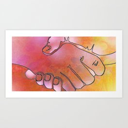 Cargiver Hands Harmony Pink and Orange Art Print