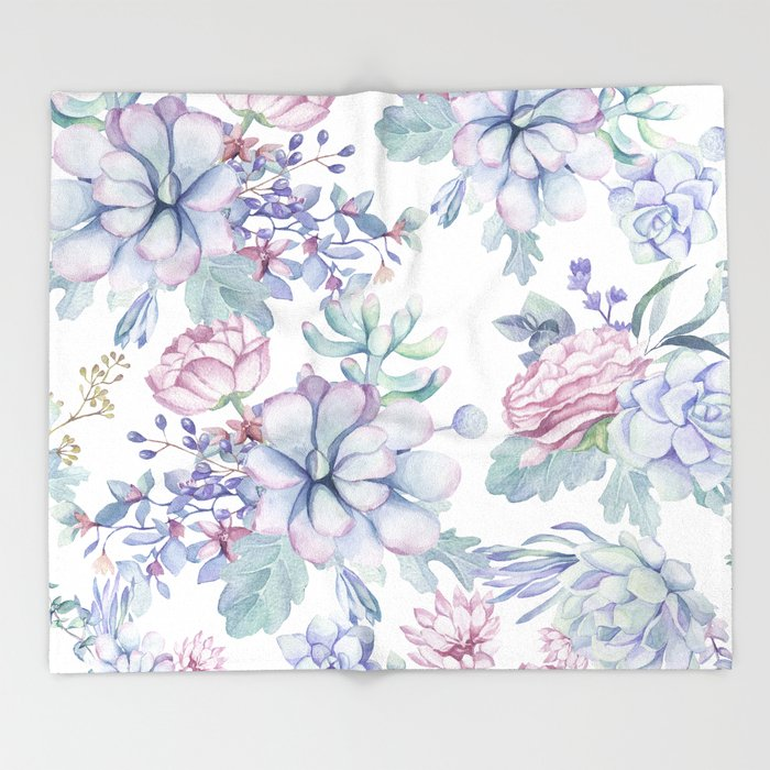 Pretty Blue Pink Succulents Garden Throw Blanket