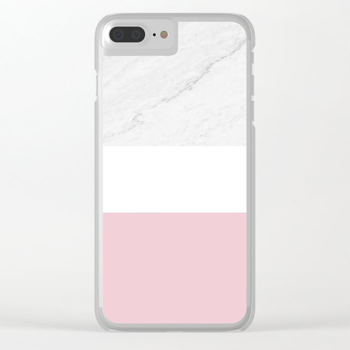 Marble And Dusty Pink Clear iPhone Case