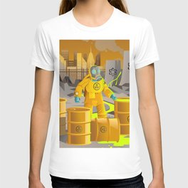 biohazard suit man with barrels near nuclear meltdown in powerplant T-shirt
