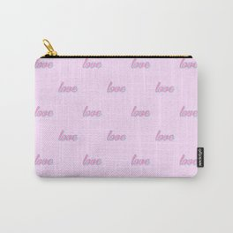 Love, pattern, typography, pink, cute design, pink background Carry-All Pouch