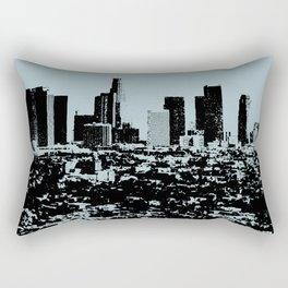 Downtown Los Angeles Skyline - Stamp Pattern on Light Blue Rectangular Pillow
