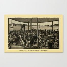Coney Island - On Deck, Nearing Coney Island  Canvas Print