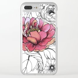 Painted Peony Garden Clear iPhone Case