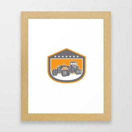 Road Grader Shield Retro  Framed Art Print