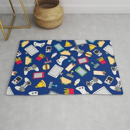 Gamer Blue Gaming Fast Food Kids Retro Pattern Rug