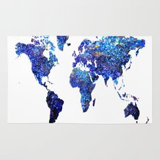 World Map blue purple Rug