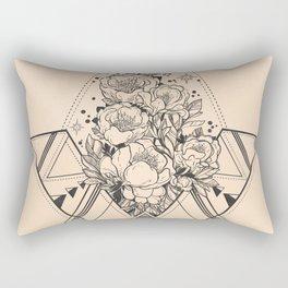 Desert Geometric Roses Coral Rectangular Pillow