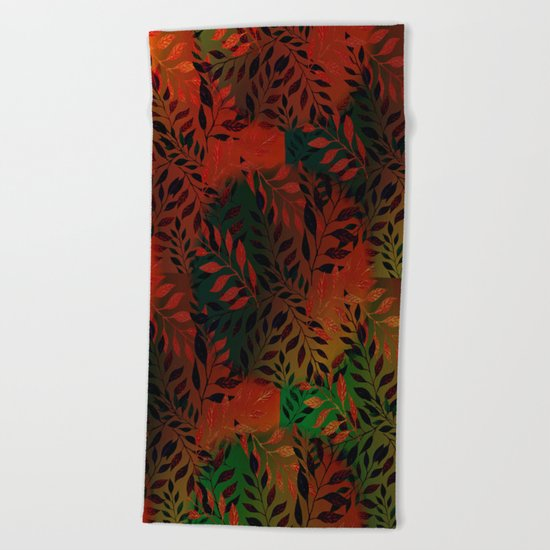 Abstract Leaf Arrangement (African Colors) Beach Towel