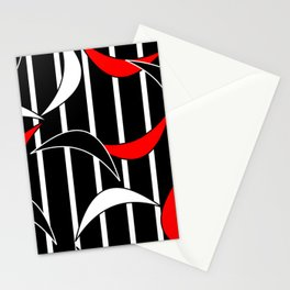 Red Black and White Abstract Stationery Cards