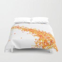 Maple Leaves on White Duvet Cover