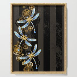 Steampunk Design with Mechanical Dragonflies Serving Tray