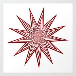 Lucky Thirteen Red and White Starburst Art Print