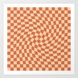 Check IV - Orange Twist Art Print