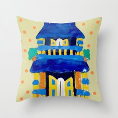 Little Blue House Throw Pillow