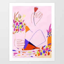 Flower vendor Art Print