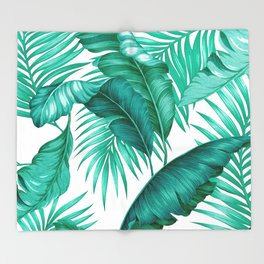 HAWAIIAN GARDEN TROPICAL LEAVES | turquoise white Throw Blanket