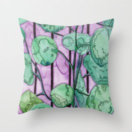 Leafy Plant on Purple Background Throw Pillow