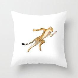 cheetah Sprinter track and field sprint runner  sport Throw Pillow