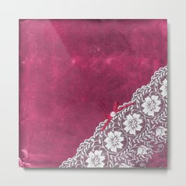 Claire´s treasure - White beautiful lace and pearl on pink grunge backround Metal Print
