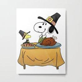 Snoopy Thanksgiving Metal Print