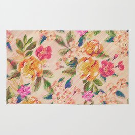 Golden Flitch (Digital Vintage Retro / Glitched Pastel Flowers - Floral design pattern) Rug